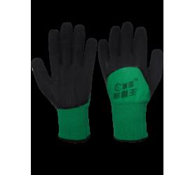 Перчатки нейлоновые зеленые с обливными ладонями