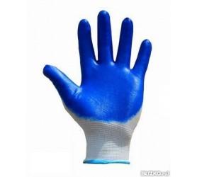 Перчатки нейлоновые синие с обливными ладонями
