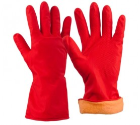 Перчатки красные хозяйственные с утеплением